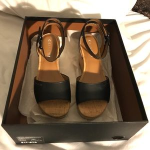 Authentic Coach Leather Wedges